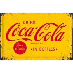Metalen bord Coca Cola Yellow