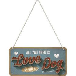 Metalen hangbord Love Dog