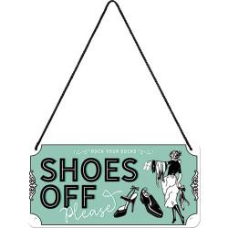 Metalen hangbord Shoes Off